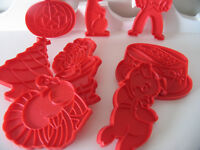 8 Tupperware Cookie Cutters, 1970s, Bunny, Pumpkin, holidays