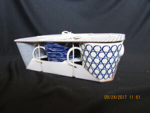 New Set of 6 Blue and White Royal Doulton Pacific Coffee Mugs