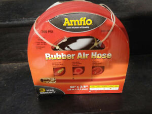 *NEW* Amflo Heavy Duty Red Rubber Compressor Hose - 50' x 3/8""
