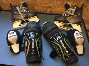 Youth skates size 10, shin and elbow pads