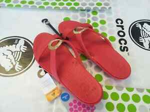 CROCS-SANRAH-PATENT-CLEO-PATRICIA-ADARA-SANDAL-MARY-JANE-SHOE-Red-Gold-W-8-NWT