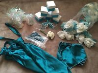 Teal/turquoise/white wedding accessories - petals, crystals, favours & more