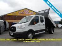 2015 15 FORD TRANSIT 350 LWB TRANSIT CREWCAB TIPPER 155 T350 ALLOY TIPPER BODY 1