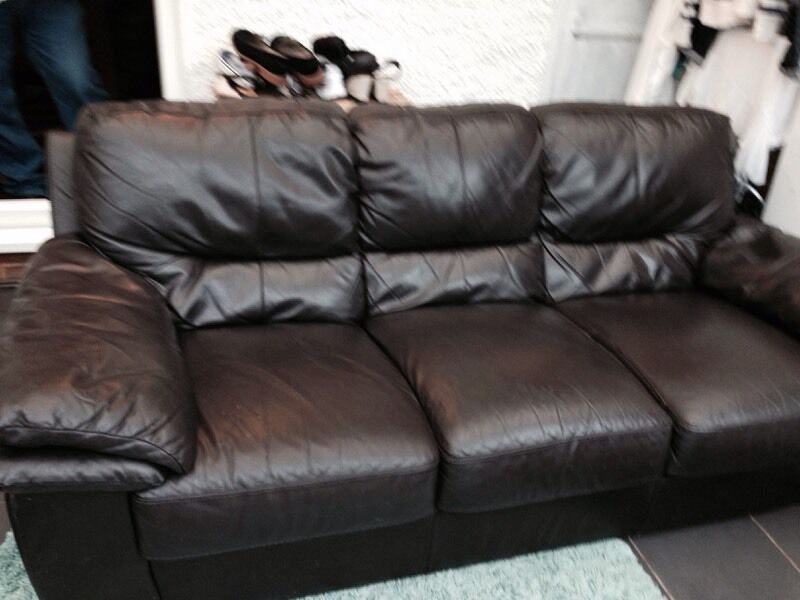 3 Seater Brown Leather Sofa For Sale In Ipswich Suffolk