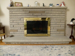 Fireplace screen and in grate log holder.