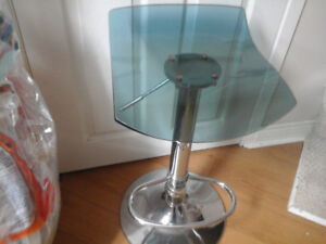 2 hydraulic thick plastic bar stools really cool blueish tinge