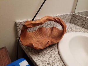 Burled Wood Hand Carved Accent Bowl With Handle