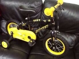 "Kids bike - Boys Stinger Bee bike 12"" with stabilise"