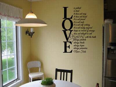LOVE IS PATIENT LOVE IS KIND VINYL WALL DECAL HOME LETTERING WALL STICKER - Love Is Kind Love Is Patient