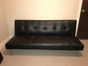 Black Leather Futon Sold