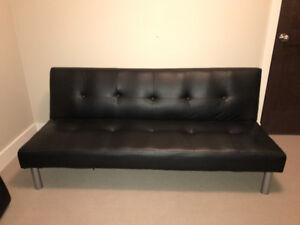 Black Leather Futon Sold