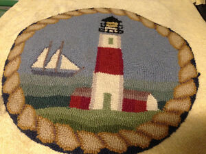 VINTAGE HOOKED MAT OVAL LIGHTHOUSE SCENE - PARKER PICKERS -
