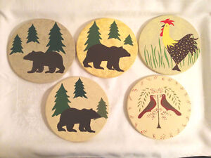 """Hand Painted Trivets """"Hot Pot"""" Table protector."""