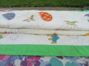 VINTAGE CRIB SIZE, QUILTED CABBAGE PATCH BLANKET, PILLOW CASE