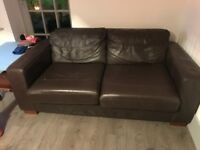 FREE TWO BROWN LEATHER SOFAS