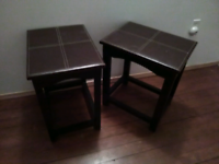 2 Leather top End tables
