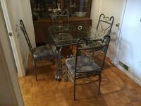 Kitchen Glass Table With 4 Matching Chairs