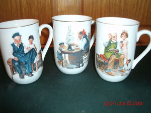 Norman Rockwell mugs x 3