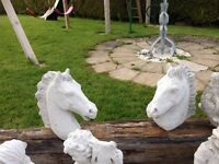 Pair Concrete Horse Heads for Pillars