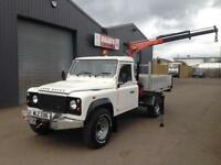 *SOLD* 2008 Land Rover Defender 130 2.4TDCi 4x4 *DROPSIDE PICKUP + HIAB CRANE *