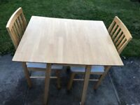 Drop Leaf Extandable Table with 2 chairs- real hard wood