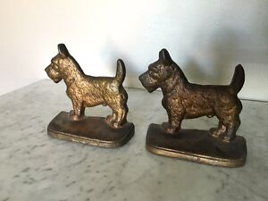 Vintage brass Scottish Terrier bookends