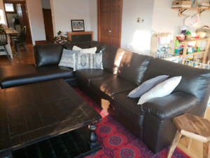 Large chocolate brown leather sectional