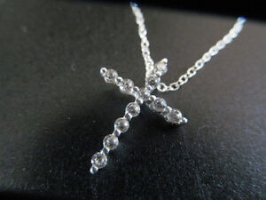 """18"""" STIRLING NECKLACE WITH CROSS PENDENT SET"""