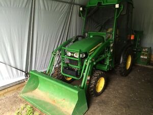 "John Deere 2025R With H130 loader, cab, and 54"" snow blower"
