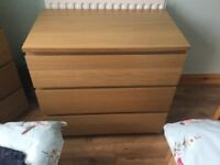 Malm 3 Drawer Cabinet Oak