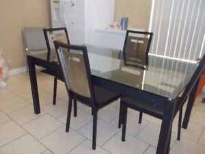 Matel and glass Dining table set