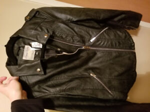 New Faux Leather Biker Jacket, Ladies Large