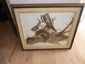 Very cute original painting with rabbits