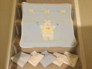6 pc Set: Bedspread, Swaddling Blankets & Mattress Protector Pad