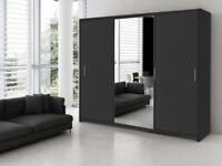 brand new luxury berlin 2 door full mirror sliding wardrobe with plenty of shelves and hanging rails
