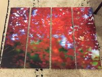 Beautiful four piece canvas set of red leaves