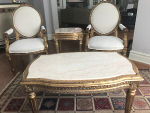 French LouisXV style hand carved chairs & tables