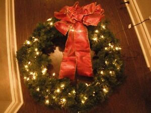 """30"""" Light Up Wreath With Red Bow"""