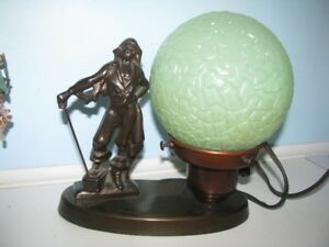 VINTAGE TABLE LAMP PIRATE FIGURE ON TREASURE CHEST METAL