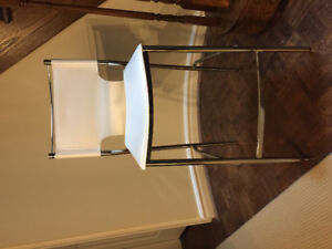 White and chrome modern bar stool chair!