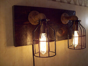 Rustic Hand Made Wall Sconce Double Lamp