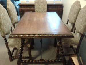 1930s oak dining room set with 6 chairs