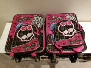 Monster High Girls Travel Suitcase with wheels and backpack