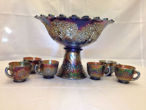 Orange Tree Fenton Punch bowl and glasses (Blue)