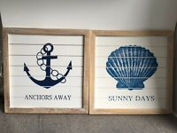 Set of 2 Beach Theme Shabby Chic Wooden Hanging Pictures