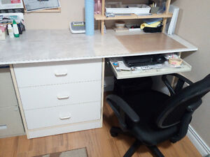 White computer desk with drawers and chair $25.00 or best offer