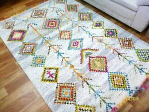 Boho Chic Bright Floor Rugs & Squares with Braided Fringe