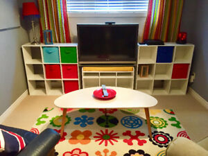 White cube shelving, matching bench,coffee table and area rug