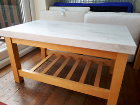 Corian Marble Top Coffee Table and Coasters