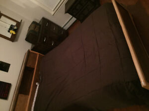 Double bed frame, pine head board, foot board, with Matress